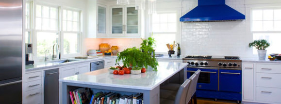 Colorful appliance in white kitchen