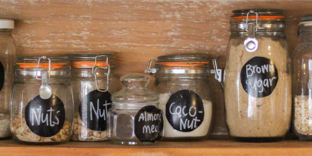 Glass Food Storage Jars with Labels