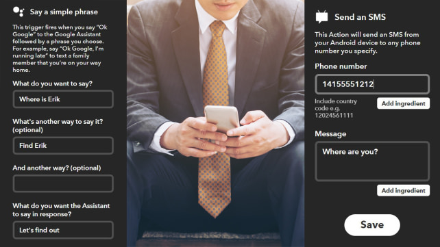 IFTTT Send an SMS