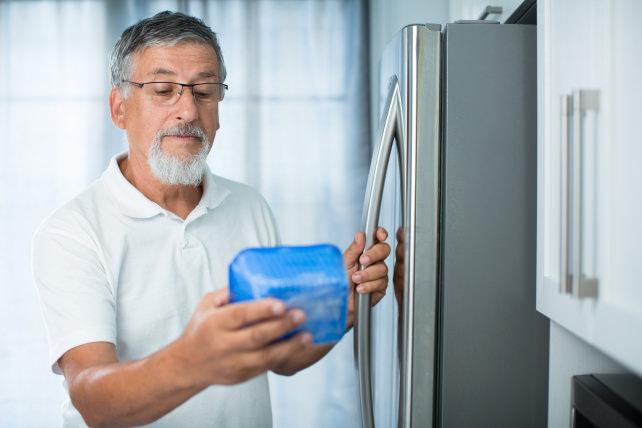 Standard depth fridge, side view