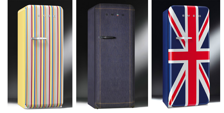 smeg also offers several suitably subdued to the gold version including stripes union jack and denim
