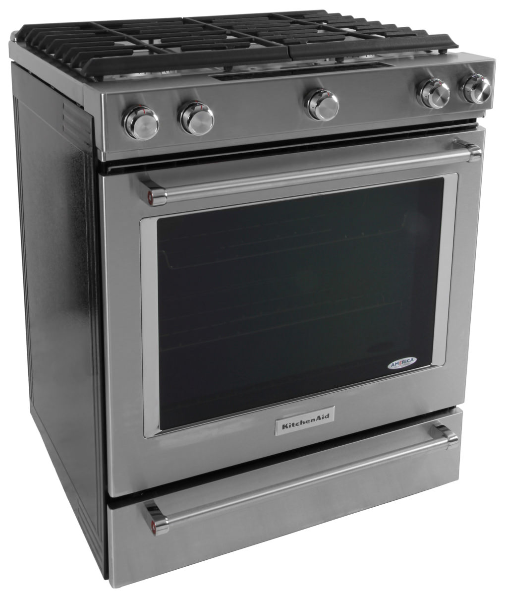 The KitchenAid KSDB900ESS Dual Fuel Slide In Range.