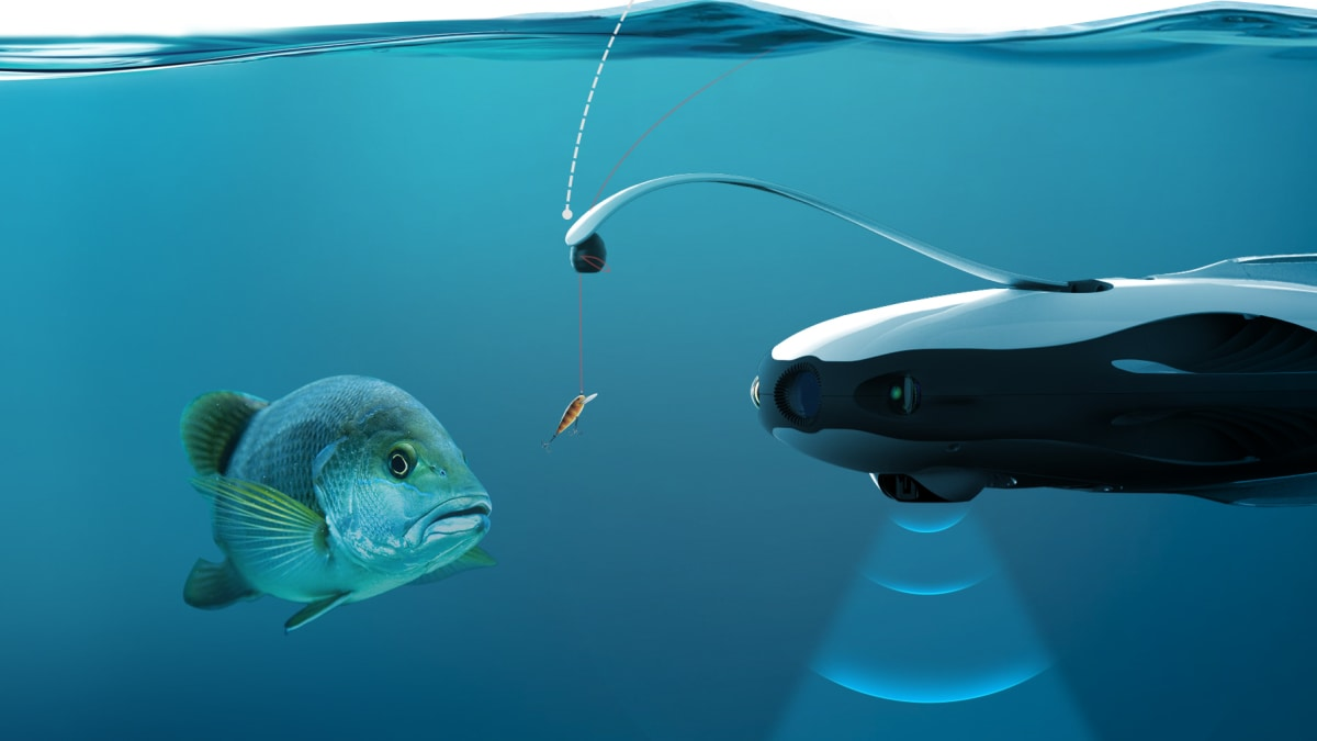 The powerray drone is an underwater camera for Best drone for fishing