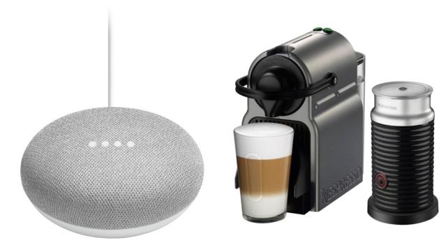 Google Home Mini and Nespresso pod espresso maker