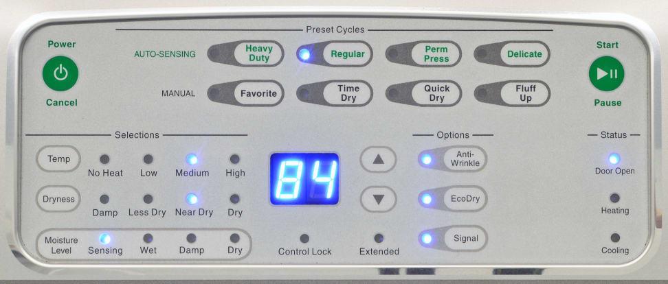 Speed Queen ADEE9RGS173TW01 Controls